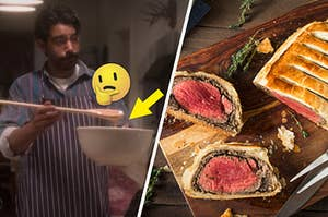 "Owen from ""Bly Manor"" is on the left mixing something in a bowl, labeled with an arrow and think face emoji and Beef Wellington on the right"