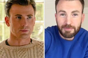 Chris Evans as Ransom in Knives Out and Chris Evans in real life