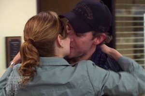 Jim and Pam from the office kissing