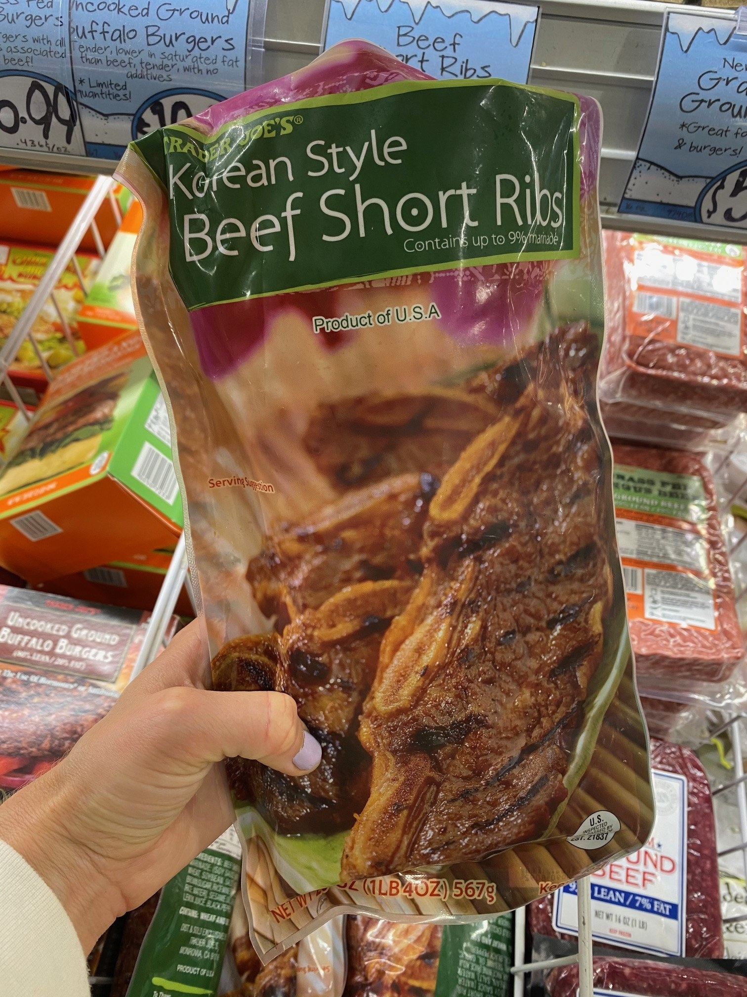A package of Korean style beef short ribs from Trader Joe's,