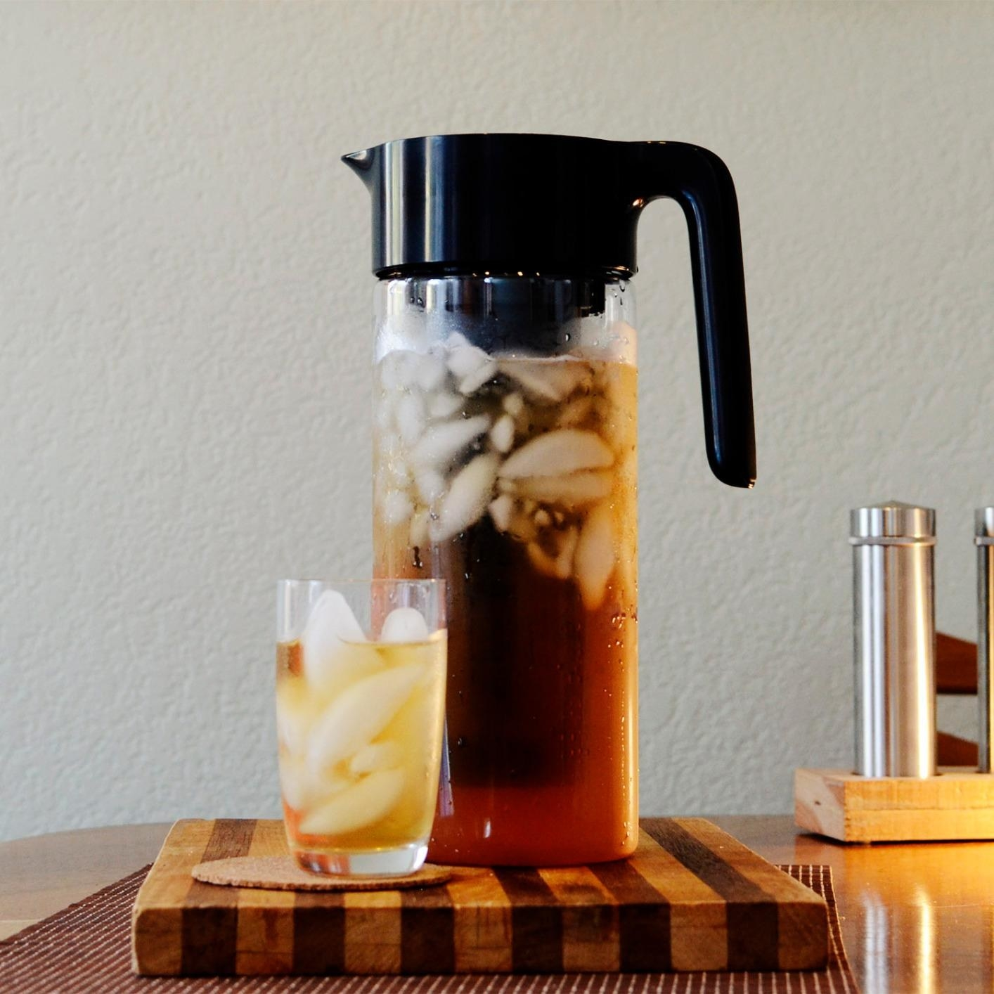 A reviewer image of their goodful cold brew maker filled with iced coffee