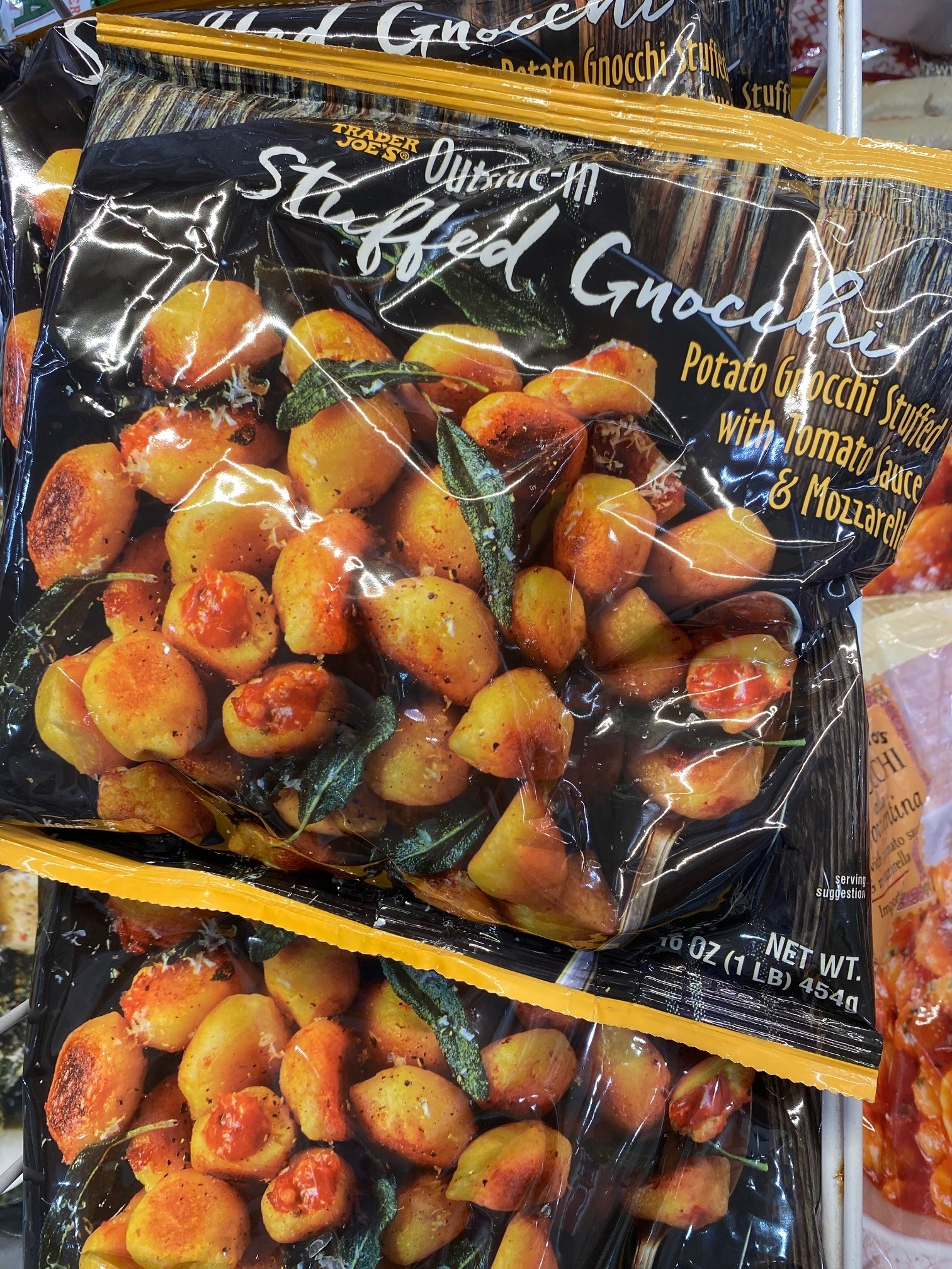 A bag of frozen stuffed outside-in gnocchi.