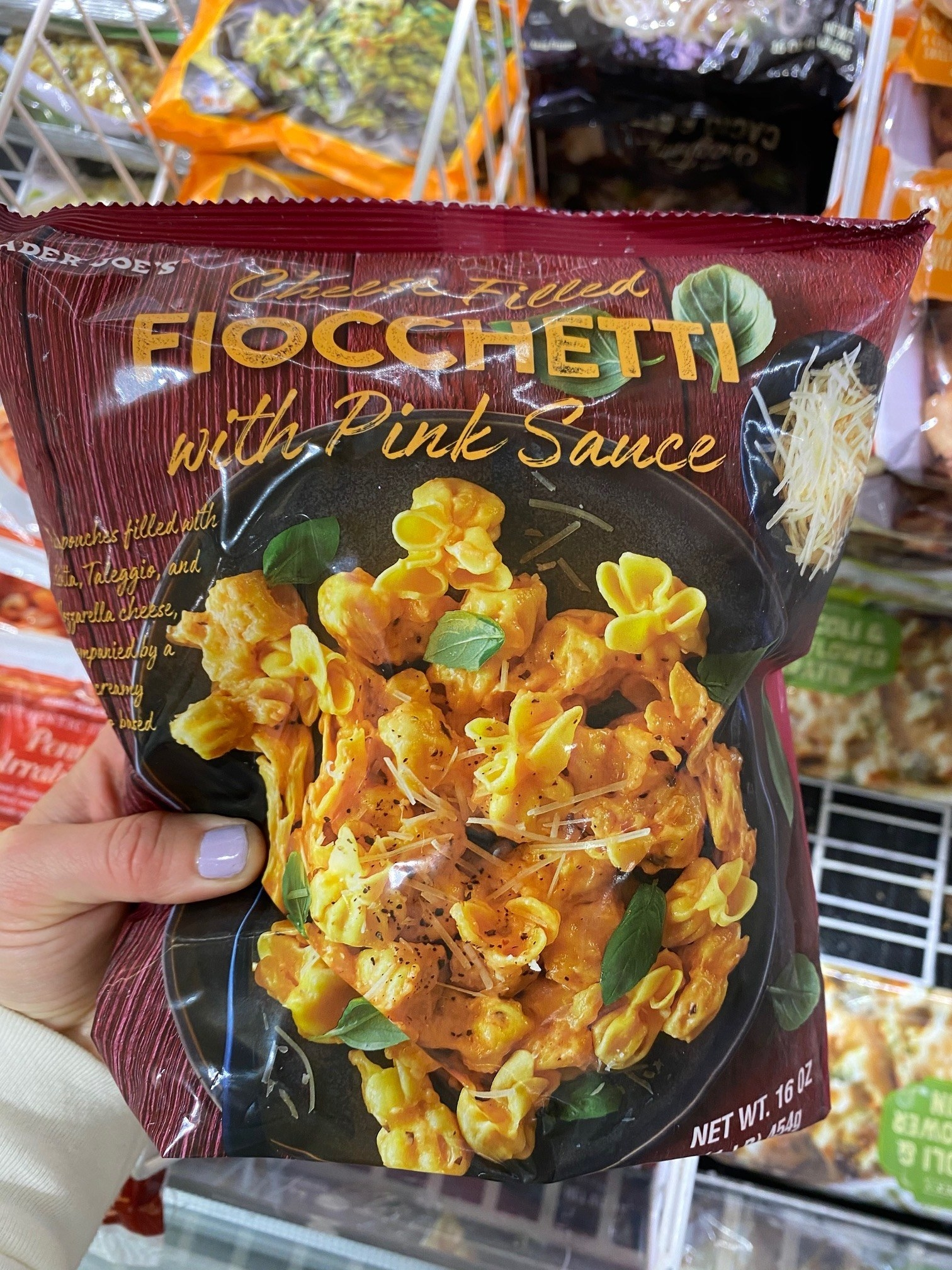 A bag of frozen fiocchetti in pink sauce from Trader Joe's.