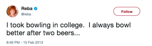 A Tweet saying she took bowling in college