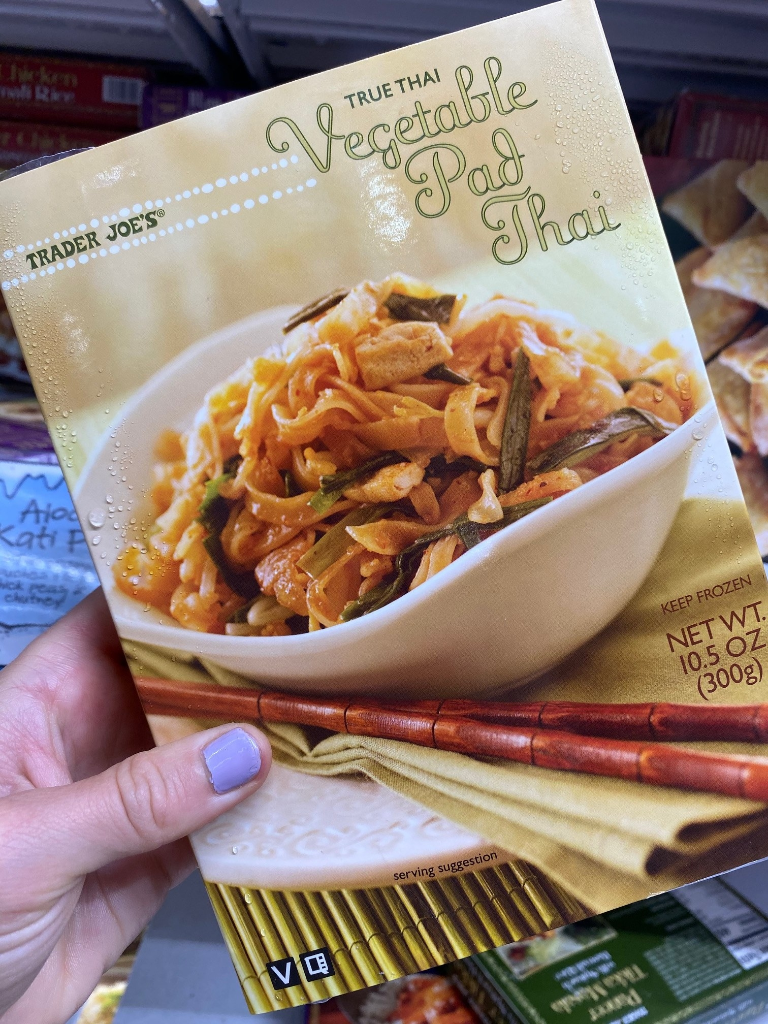 A box of frozen vegetable pad Thai from Trader Joe's.