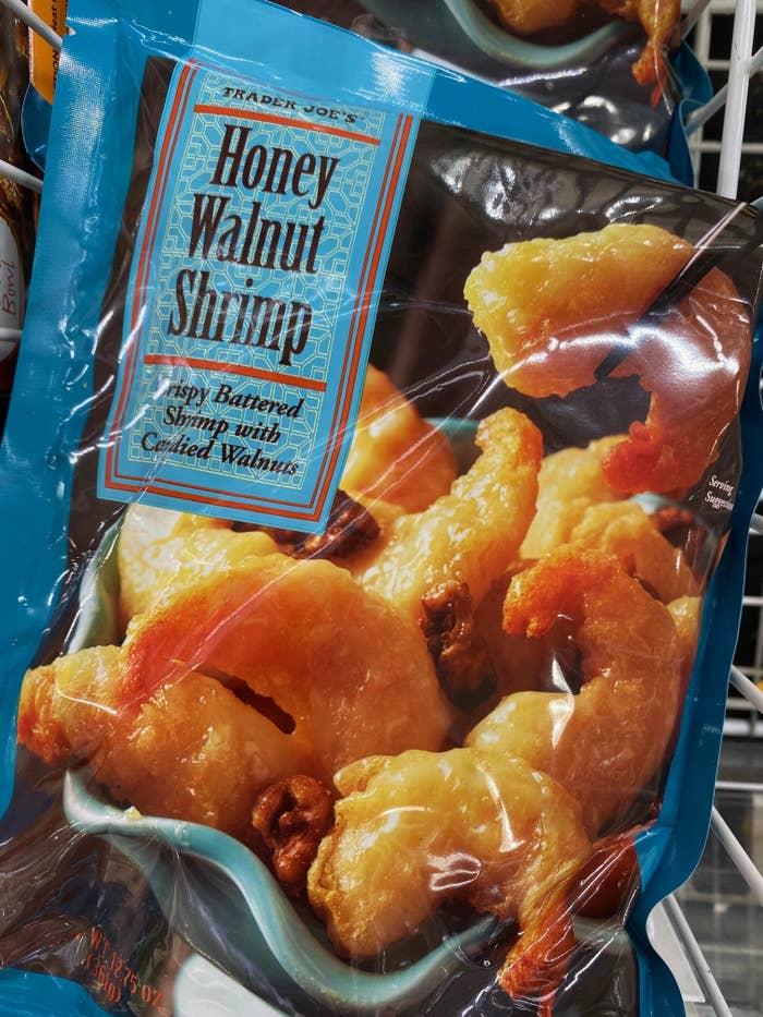 A bag of Trader Joe's honey walnut shrimp.