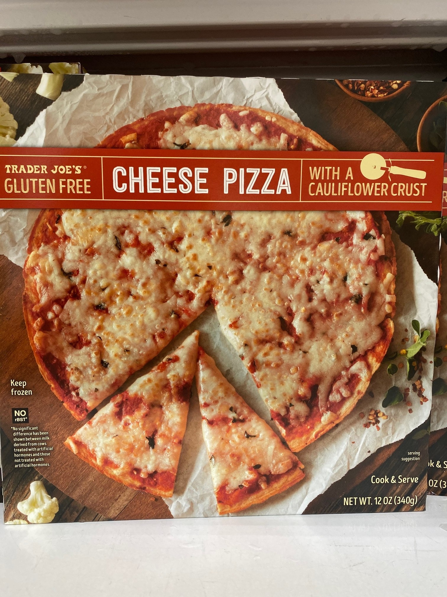 A box of frozen cheese pizza with cauliflower crust from Trader Joe's.