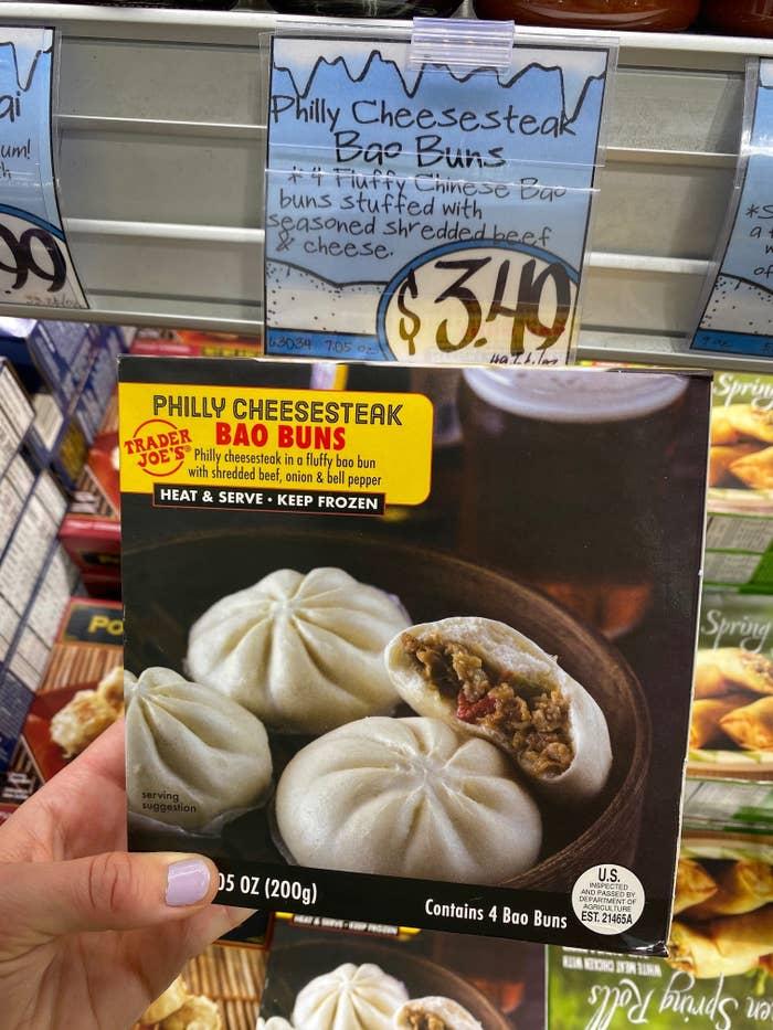 A box of Trader Joe's Philly cheesesteak bao buns.