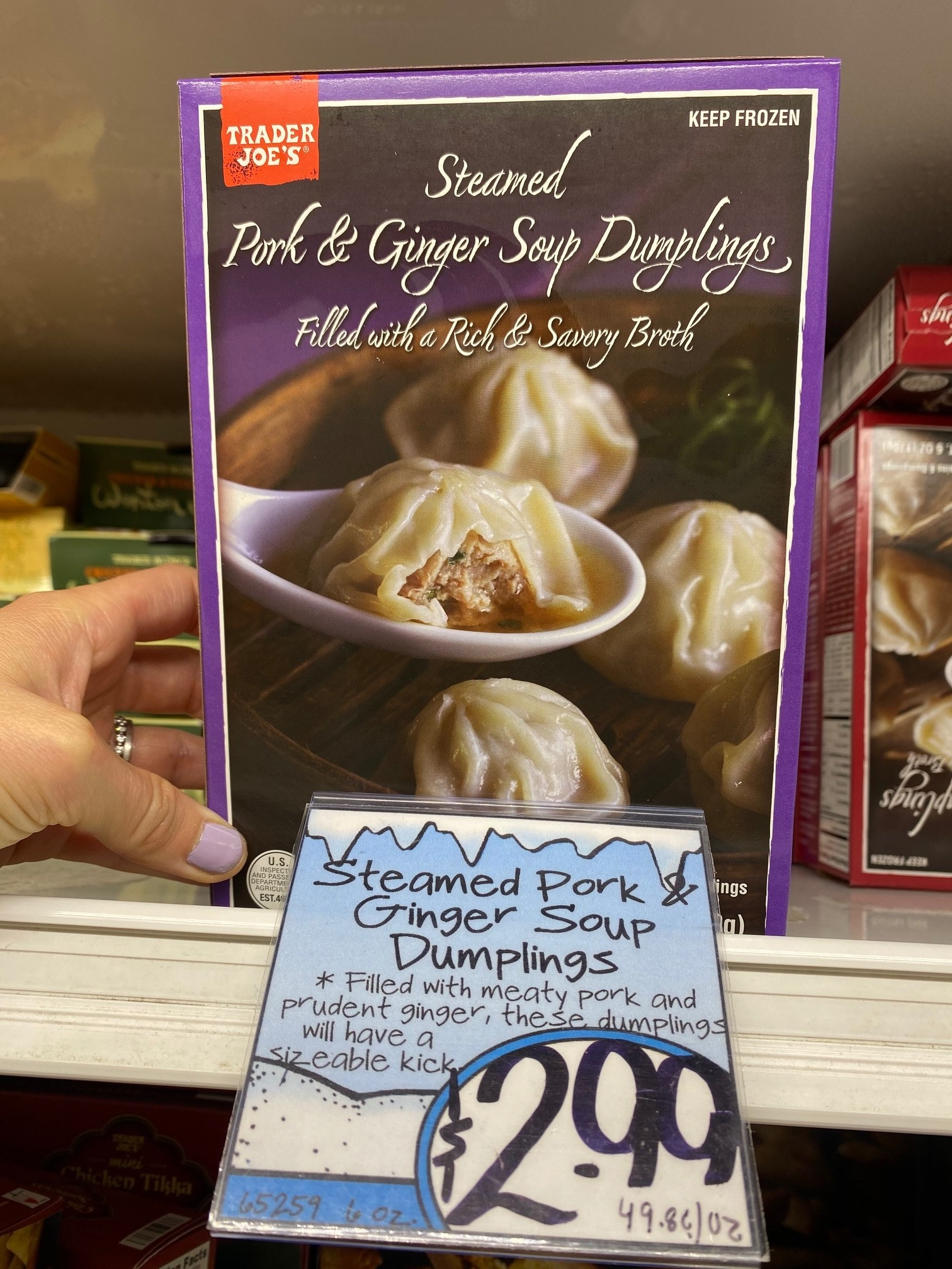 A box of frozen pork and ginger steamed soup dumplings from Trader Joe's,