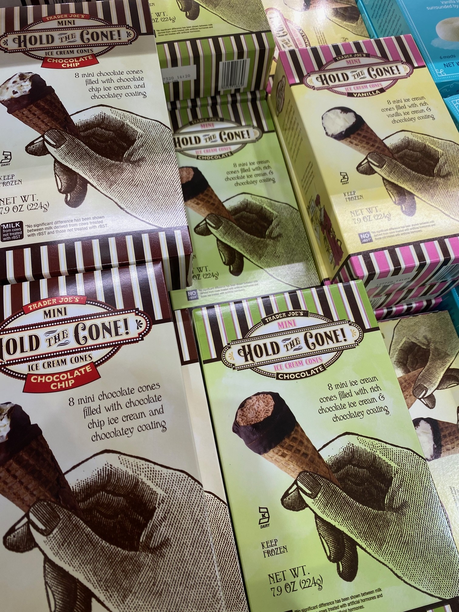 Several boxes of Hold the Cone ice cream cones in various flavors from Trader Joe's.