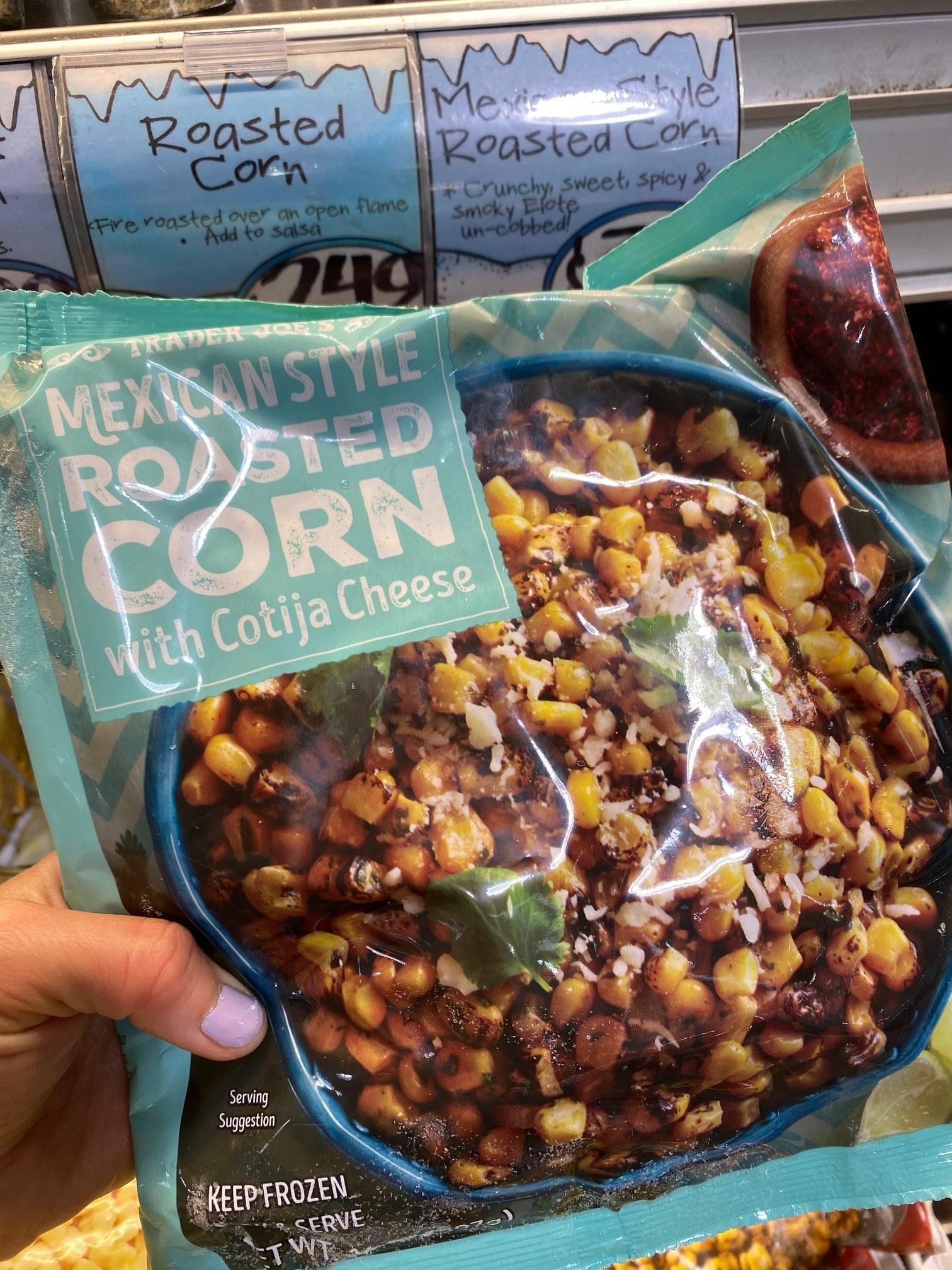 A bag of Mexican-style roasted corn with Cotija cheese from Trader Joe's.