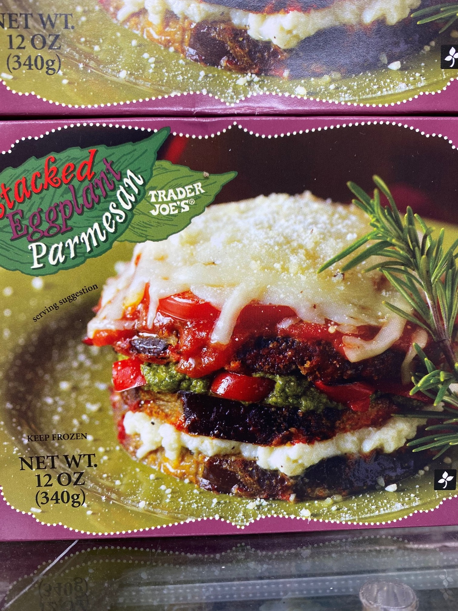 A box of frozen stacked eggplant parmesan from Trader Joe's.