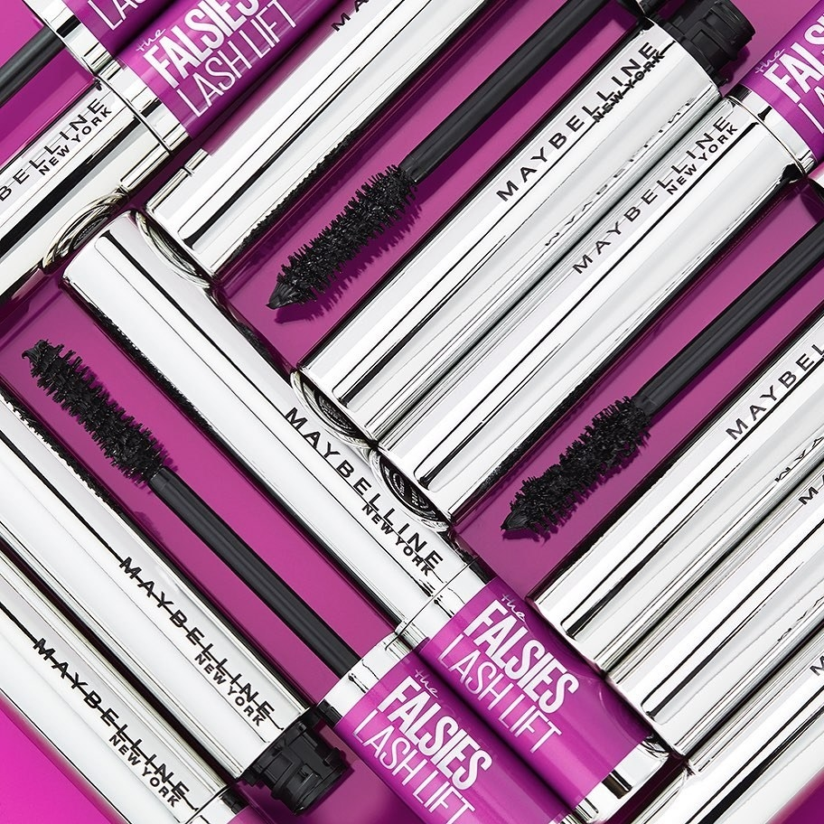 Maybelline mascara on purple background
