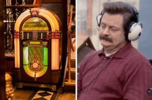 Side-by-side images of a jukebox and Ron Swanson listening to music