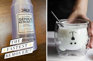 """On the left, a bottle of nail polish remover with the text """"The fastest remover!!"""" On the right, a clear class with a bear face shaped compartment inside"""