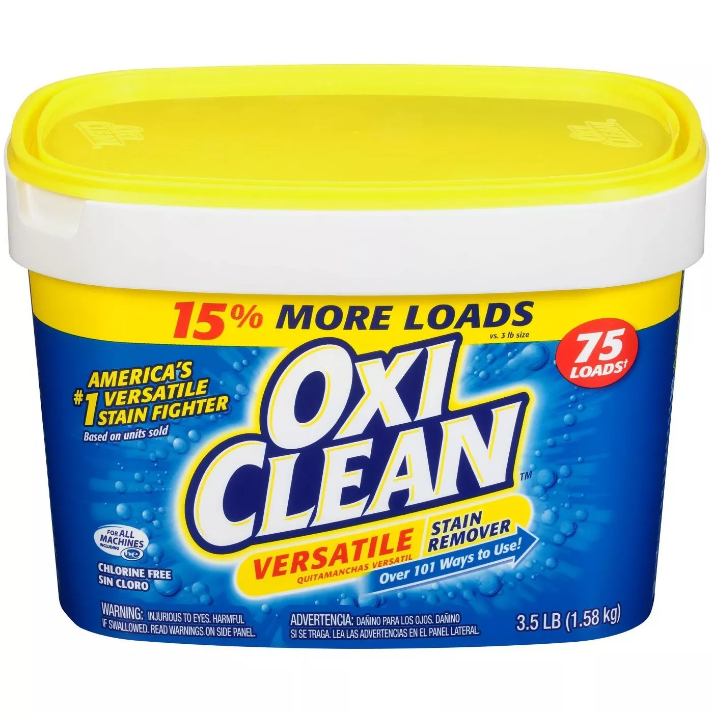 The 3.5-pound of OxiClean, a versatile stain remover with over 101 uses that can treat up to 75 loads