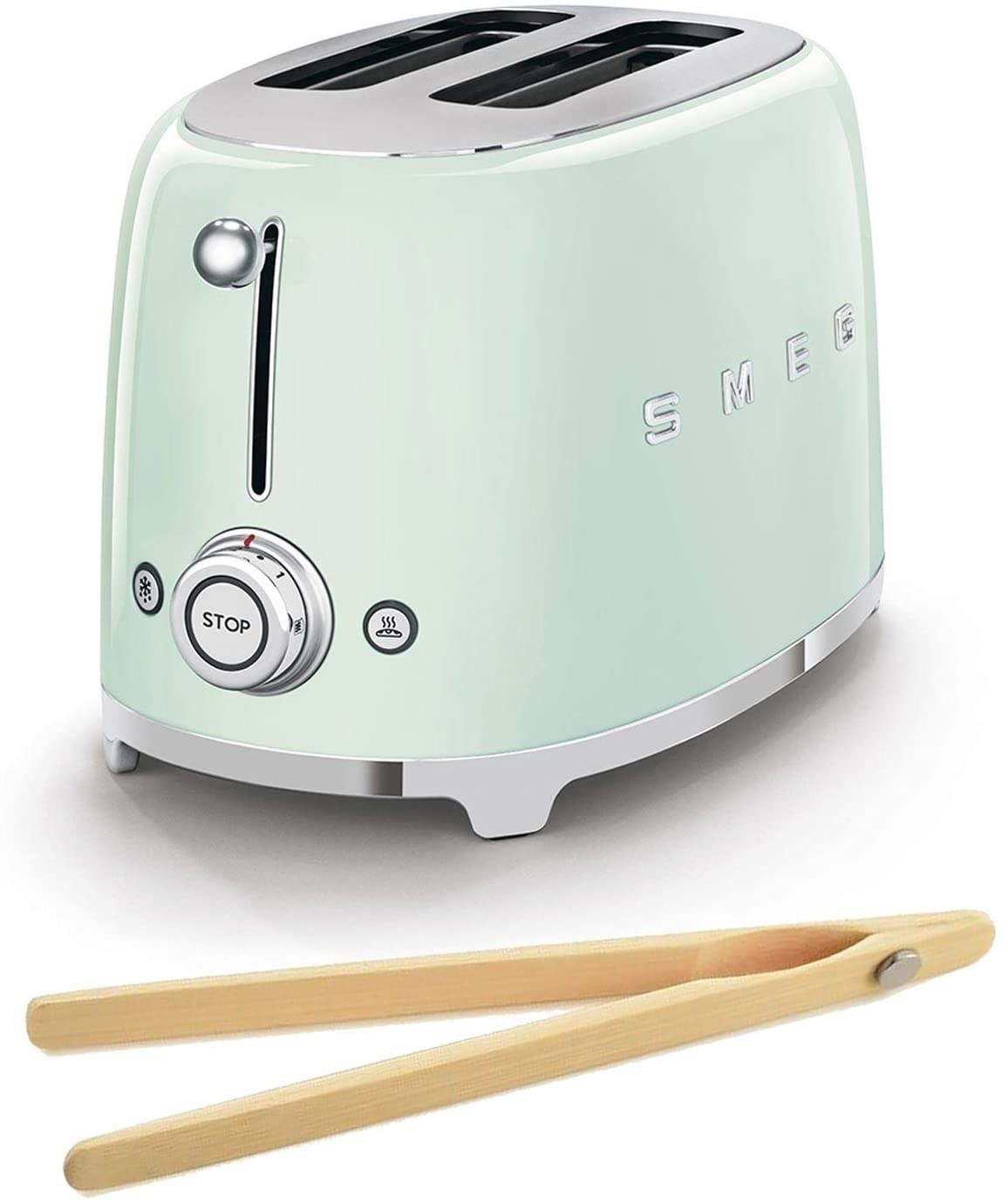 The pastel green toaster and tongs