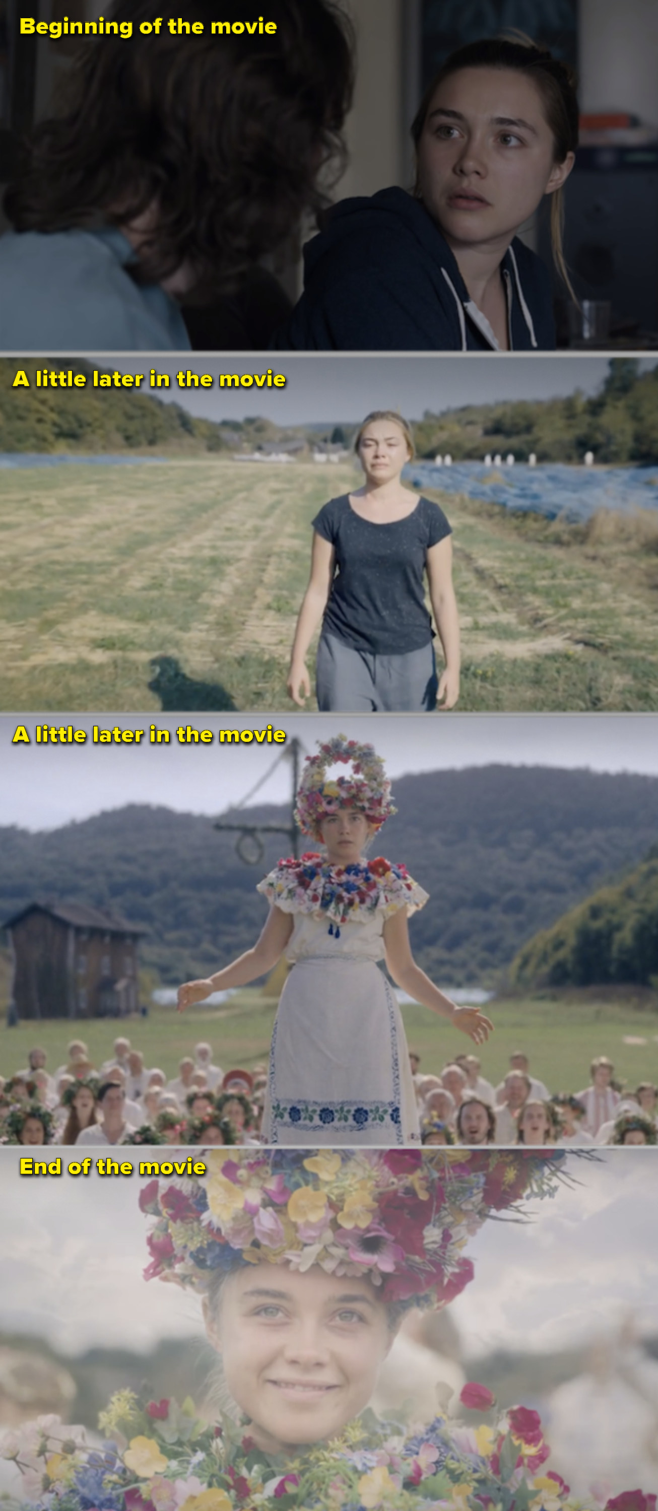 "Dani's clothes going from grey to super-colorful throughout ""Midsommar"""