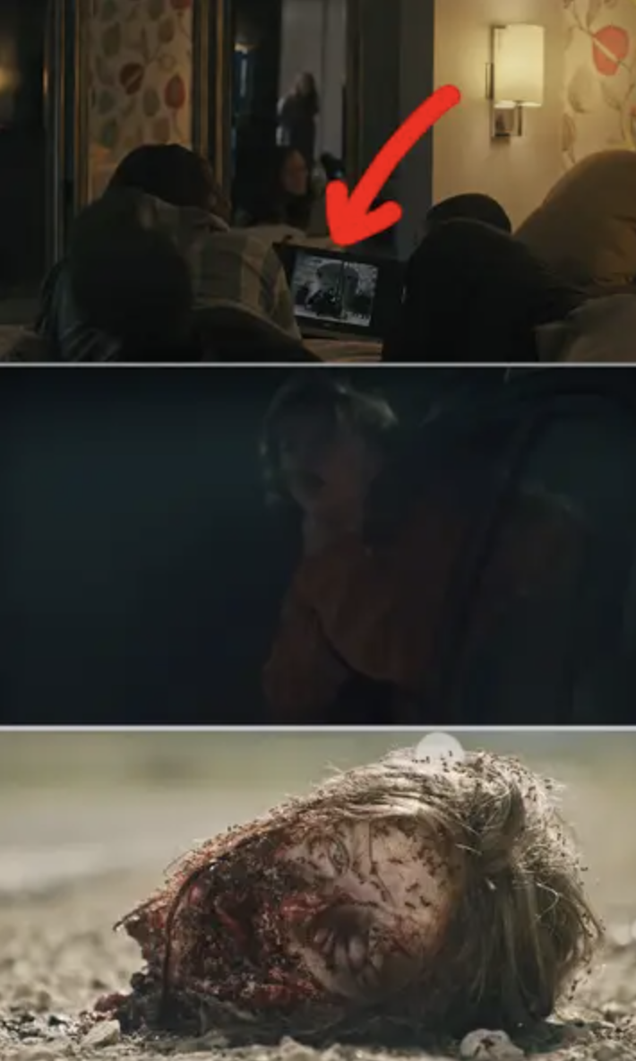 Side-by-sides of people watching a movie at the party, then Charlie sticking her head out the car window, then her decapitated head on the road with bugs on it