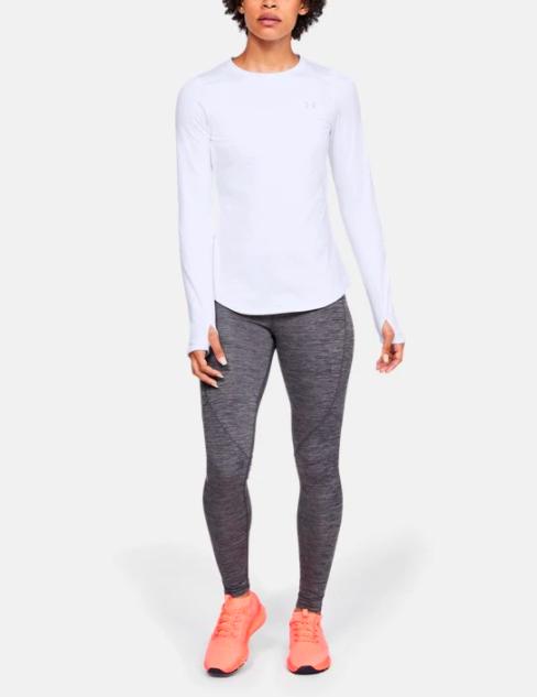 Model wears white crewneck long-sleeve tee with thumbholes while wearing dark gray leggings and pink sneakers