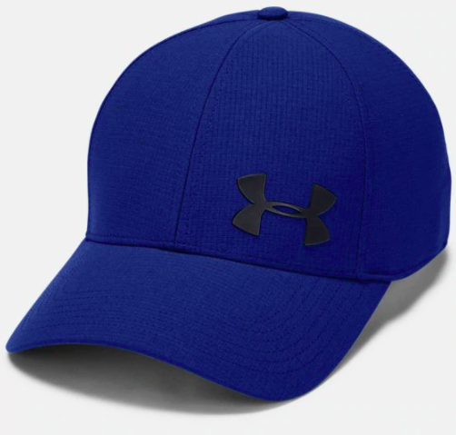 Navy baseball cap with black Under Armour logo on the front
