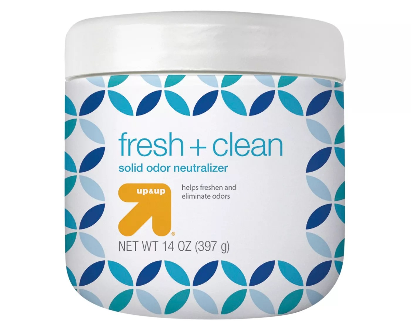 A 14-ounce container of solid odor neutralizer that freshens and eliminates odors