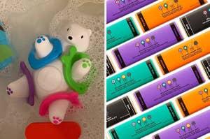 On the left, a polar bear bath toy. On the right, Halloween-themed candy bars