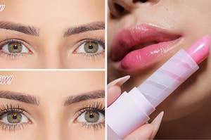 on the left, a before and after of a model with thin lashes, then thick long lashes after putting on mascara; on the right, a closeup of lips in a pink tinted lip balm