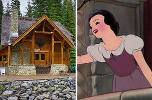 A cabin in the woods on the left and Snow White singing out a window on the right