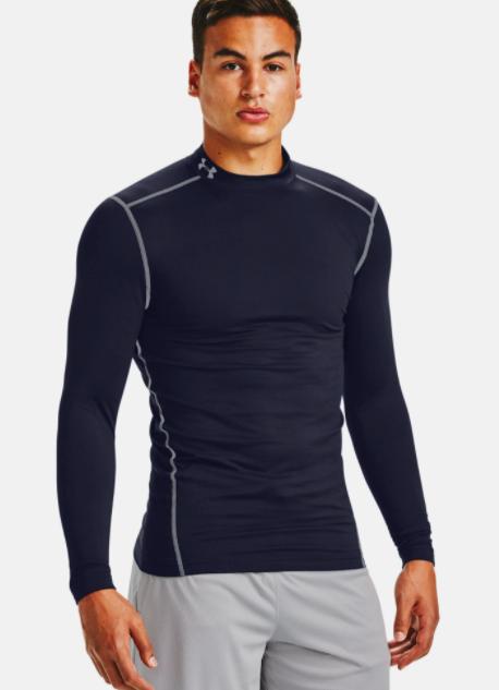 Model wears black compression mockneck shirt with white gym shorts