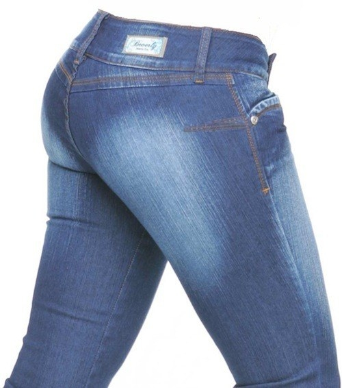 A pair of low-rise jeans with no back pockets on it