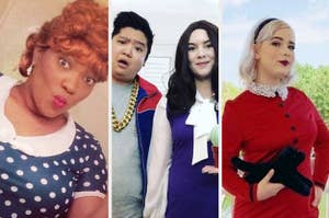 BuzzFeed readers dressed as Lucy from I Love Lucy, Jason and Janet from The Good Place, and Sabrina Spellman from Chilling Adventures of Sabrina