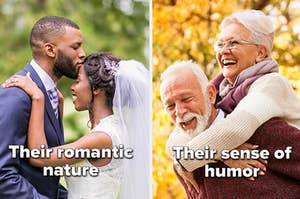 "Married couple kissing with the words ""Their romantic nature"" and older couple laughing with the words ""their sense of humor"""