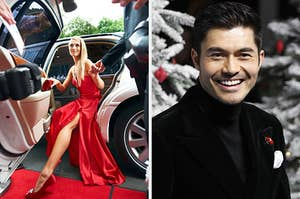 On the left, someone steps out of a limo onto a red carpet, and on the right, Henry Golding
