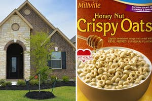 A ranch home is on the left with a box of Honey Nut Crispy Oats on the right