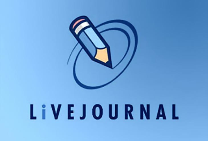 A screenshot of the LiveJournal logo which features a blue pencil