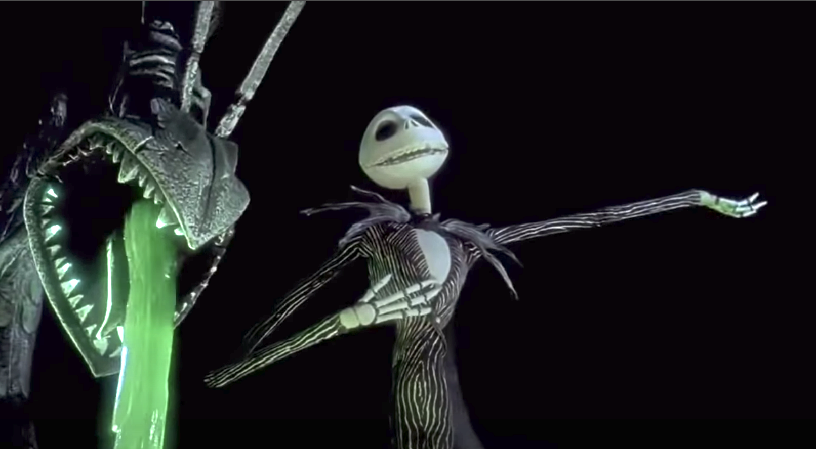 Jack Skellington singing out to the townspeople