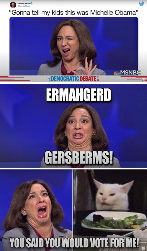 """Harris memes that say things like """"Ermahgerd gersberms!"""" and """"Gonna tell my kids this was Michelle Obama"""""""