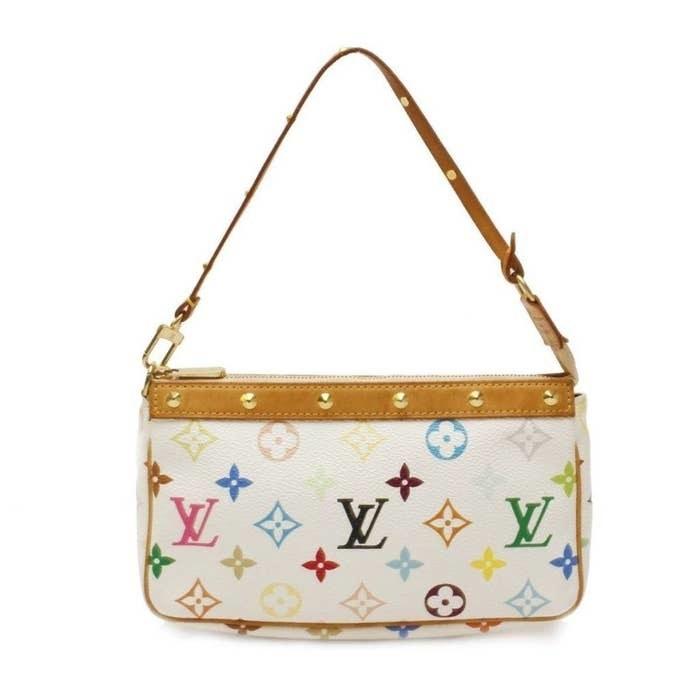 A pic of a white Takashi Murakami Louis Vuitton purse