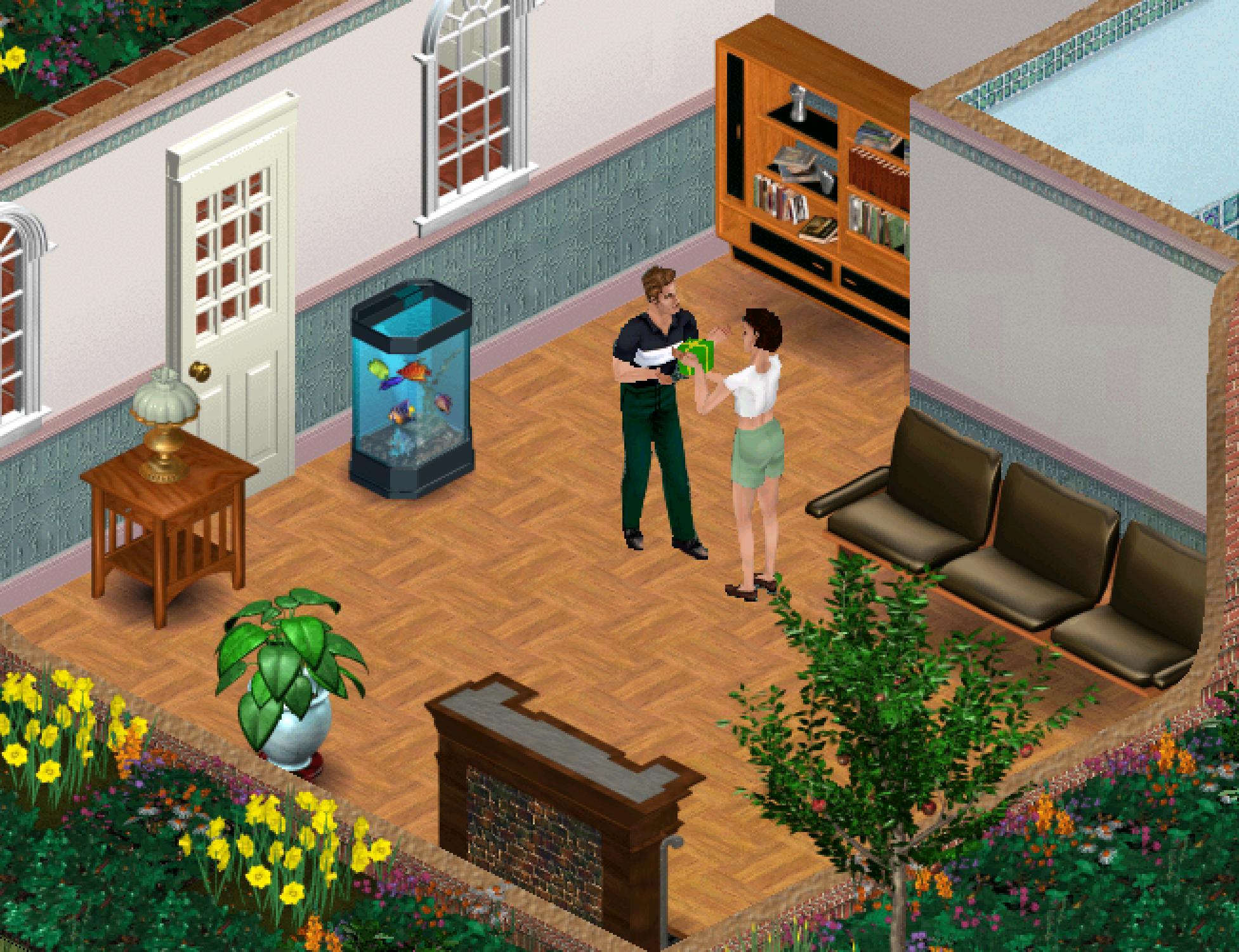 A screenshot of a a female Sim giving a male Sim a present