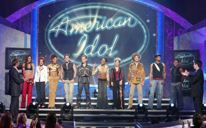 The American Idol top 10 finalist standing onstage