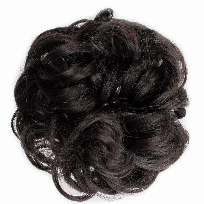 A dark brown fake hair scrunchie