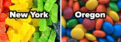 Sour Patch Kids and the word New York, and M&Ms and the word Oregon