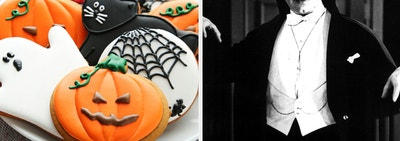 halloween cookies and a photo of Dracula