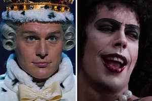 Side-by-side images of Jonathan Groff as Mad King George and Tim Curry as Frank-N-Furter