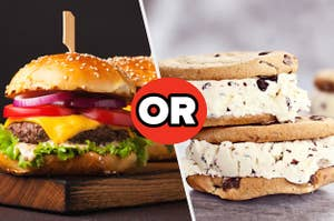 A burger or an ice cream sandwich