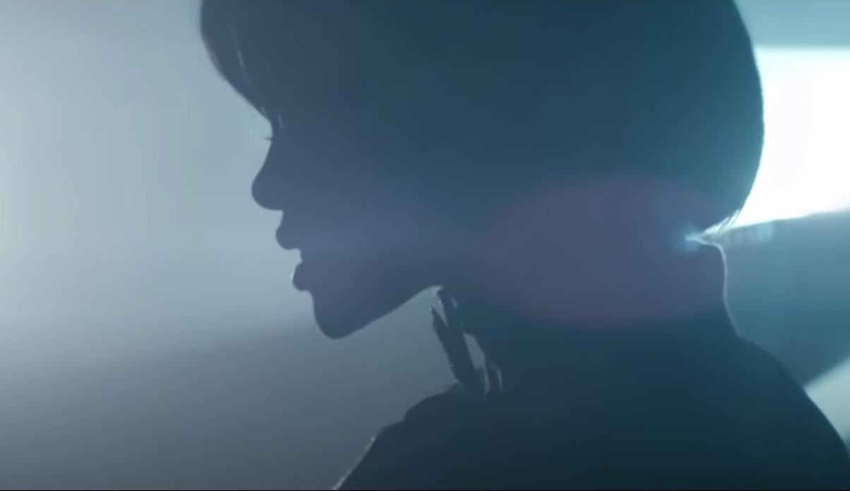 a shadow outline of Rihanna's profile