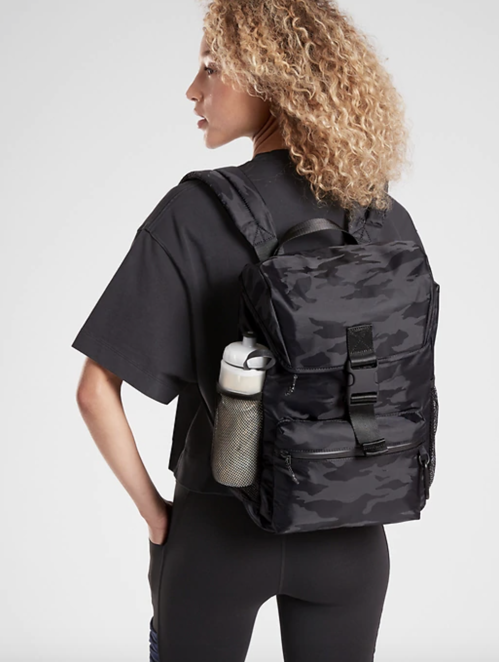 model wearing the lightweight backpack