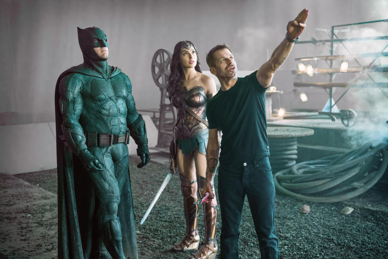 Ben Affleck (as Batman), Gal Gadot (as Wonder Woman), director Zack Snyder on set, 2017