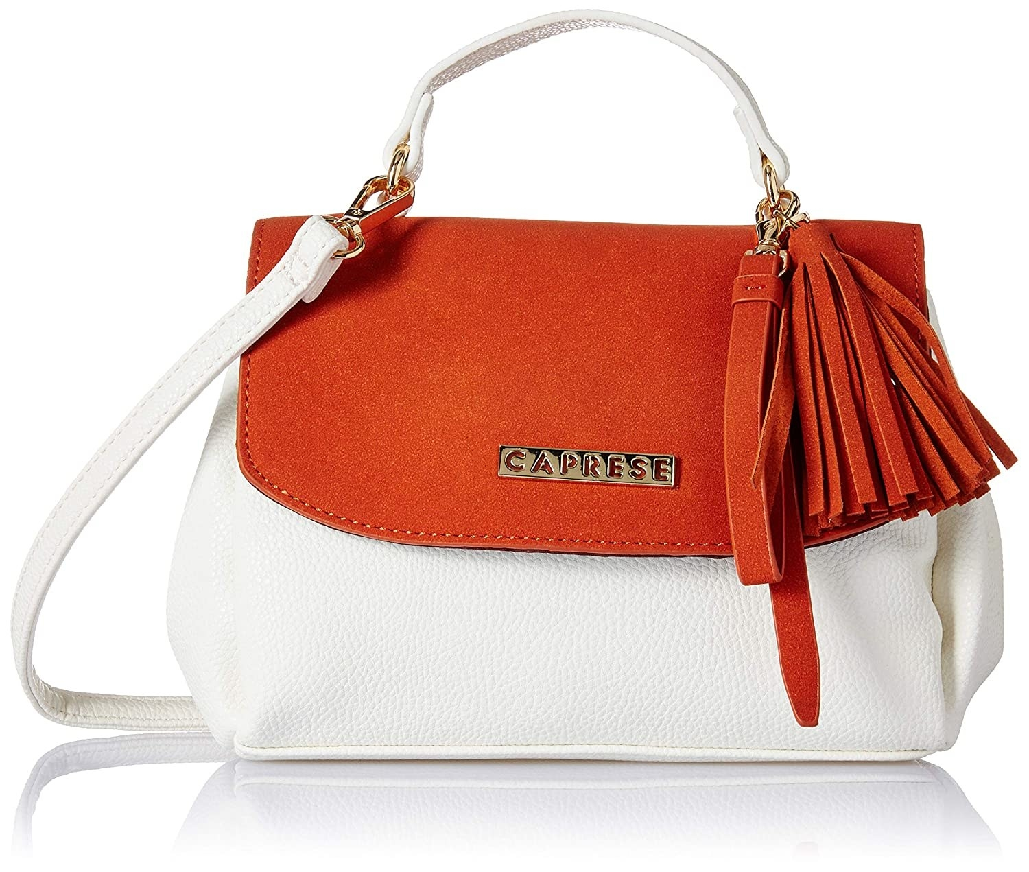 An orange and white slingbag